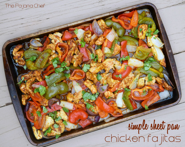 Simple sheet pan chicken fajitas - I think you are going to want these in your mouth, like, last night for dinner. They bake ALL BY THEMSELVES in the oven but still have a bit of that smoky flair you love. A great weeknight dinner that the whole family will enjoy!